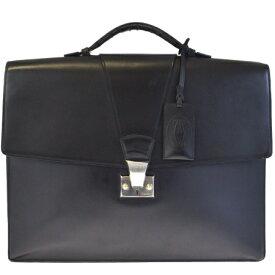 f5736ab58b5d 【中古】 カルティエ Cartier ブリーフケース ビジネスバッグ ハンドバッグ 書類かばん ブラック レザー 33EF519
