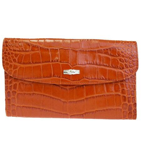 送料無料 【中古】 美品 ロンシャン LONGCHAMP 三つ折り 長財布 クロコ型押し オレンジ レザー 08HD034