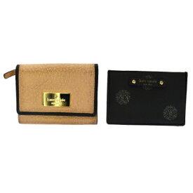 【中古】 2点セット ケイトスペード kate spade カードケース 名刺入れ パス 定期 ピンク ブラック レザー 06HD146
