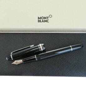【中古】 美品 モンブラン MONTBLANC マイスターシュテュック 万年筆 ブラック シルバー プラスチック メタル ペン先 14K ケース付 68BF865