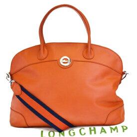 【中古】 中美品 ロンシャン LONGCHAMP ハンドバッグ ショルダーバッグ 2WAYバッグ オレンジ レザー 保存袋付き 05EG656