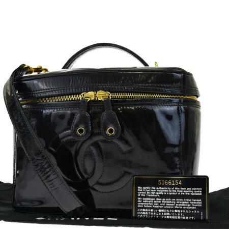 送料無料 【中古】 中美品 シャネル CHANEL バニティバッグ ハンド ショルダー 2WAY コスメ 化粧 ココマーク ブラック エナメル 保存袋付き 81EJ601