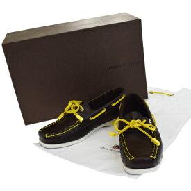 【中古】 美品 ルイヴィトンカップ LOUIS VUITTON CUP デッキシューズ 靴 ブラウン イエロー レザー レディース 37 24cm 88EJ707