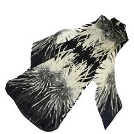 【中古】 美品 エルメス HERMES ノースリーブ ワンピース 服 ブラック アイボリー シルク 100% レディース 36 80EK642