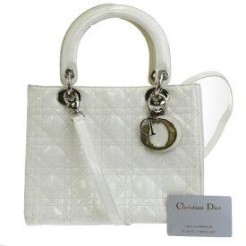 【中古】 中美品 クリスチャンディオール Christian Dior レディ カナージュ ハンドバッグ ショルダー 2WAY ホワイト レザー 17EK943