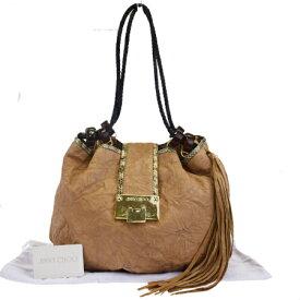 【中古】 ジミーチュウ JIMMY CHOO ショルダーバッグ 巾着 フリンジ ベージュ レザー パイソン 保存袋付き 07EM070