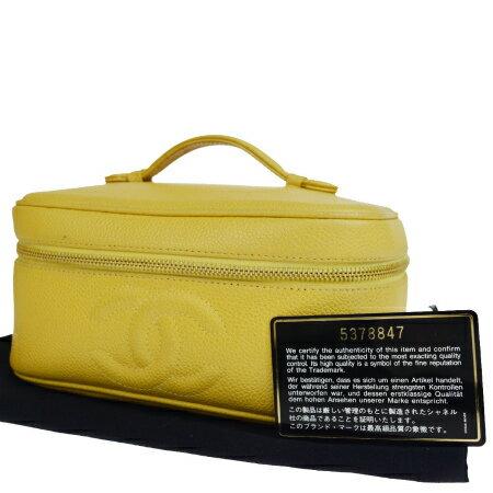送料無料 【中古】 中美品 シャネル CHANEL バニティバッグ ハンド コスメ 化粧 ココマーク キャビアスキン イエロー レザー 保存袋付き 85EM947