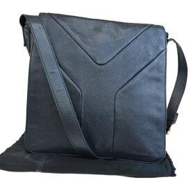 【中古】 イヴサンローラン Yves Saint Laurent ショルダーバッグ ブラック レザー 保存袋付き 69EP728