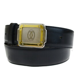 送料無料 【中古】 カルティエ Cartier サントス ベルト バックル ブラック ゴールド シルバー レザー メタル 02EP981