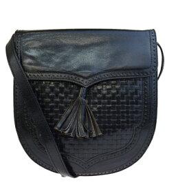 【中古】 イヴサンローラン Yves Saint Laurent ショルダーバッグ フリンジ ブラック レザー 02EQ309