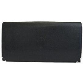 【中古】 中美品 カルティエ Cartier マスト 二つ折り 長財布 ブラック レザー 04BG361