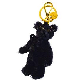 【中古】 美品 プラダ PRADA バッグチャーム キーホルダー ストラップ クマ カラーストーン ビーズ ブラック ゴールド ナイロン 04BG478