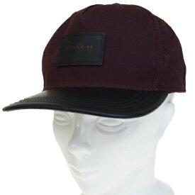 【中古】 美品 コーチ COACH キャップ 帽子 ブラック ワイン キャンバス レザー サイズ56-60cm F86475 01JA199