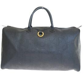 【中古】 クリスチャンディオール Christian Dior ボストンバッグ ハンド トラベル 旅行かばん ブラック PVC レザー 05ER492