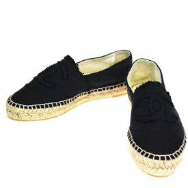 【中古】 美品 シャネル CHANEL エスパドリーユ スニーカー 靴 ココマーク ブラック キャンバス レディース 36 23cm 85BP943