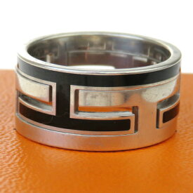【中古】 エルメス HERMES 指輪 リング ブラック シルバー 925 サイズ53 13号 保存箱付き 63MC691