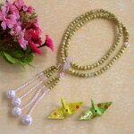 女性用真言宗本式数珠■星月菩提樹紅水晶八寸■利休梵天房桐箱粗品付