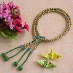 女性用真言宗本式数珠*本連念珠■星月菩提樹印度翡翠八寸■利休梵天房桐箱粗品付
