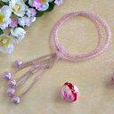 日蓮宗本式数珠*法華本連念珠◆ 紅水晶(ローズクォーツ)*八寸 ◆利休梵天房 桐箱付