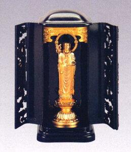 仏像■ 地蔵菩薩 純金メッキ仕上 3号厨子入り■合金製 紙箱入【高岡銅器】