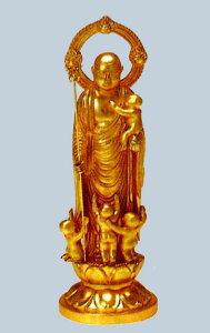 仏像■ 5寸 子安地蔵尊像 ■牧田秀雲作 合金(ダイキャスト)製純金メッキ 紙箱入【高岡銅器】