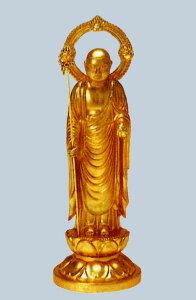 仏像■ 5寸 地蔵尊像 ■牧田秀雲作 合金(ダイキャスト)製純金メッキ 紙箱入【高岡銅器】