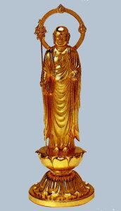仏像■ 9寸 地蔵尊像 ■牧田秀雲作 合金(ダイキャスト)製純金メッキ 紙箱入【高岡銅器】