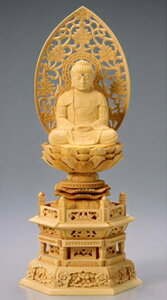 仏像 木製御本尊仏像■座釈迦 1.8寸 唐草光背 ■ 桧(ひのき・檜) 六角台 ■釈迦如来 手彫り