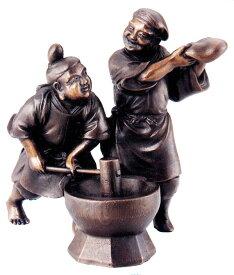仏像 七福神■ 餅つき福の神 ■研ぎ出し上味色 蝋型青銅(ブロンズ)製 桐箱入【高岡銅器】