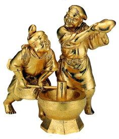 仏像 七福神■ 餅つき福の神 ■本金箔仕上げ 蝋型青銅(ブロンズ)製 桐箱入【高岡銅器】