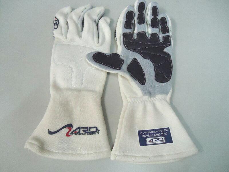 特価!ARD 内縫いレーシンググローブ ARD-250 ProGear400X Mサイズ/ホワイト 【FIA公認】(汚れ有り)
