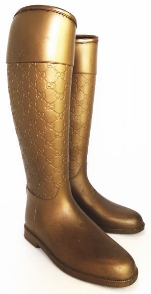 グッチ レインブーツ グッチシマ 長靴 ブーツ ゴールド #37 レディース GUCCI GG型押し ラバーブーツ 女性用【中古】