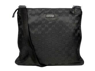 Gucci GG canvas shoulder bag 132999 diagonal black no machi mens Womens GUCCI nylon