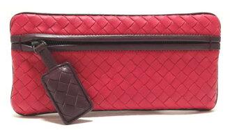 사용 되지 않는 ボッテガヴェネタ 파우치 펜 케이스 뜨개질 된 가죽 레드 빨강 용 차트 BOTTEGA VENETA 레이디스