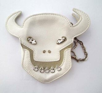 Anteprima coin Devil leather mini pouch coin purse ANTEPRIMA white with a large stone ladies