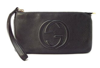 Gucci SOHO long wallet wristlet pouch leather black mens Womens 295840 black GUCCI interlocking G