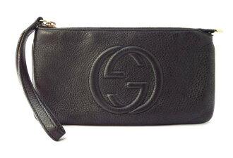 Gucci SOHO 长钱包腕带袋皮革黑色男装女装 295840 黑色古奇联锁 G