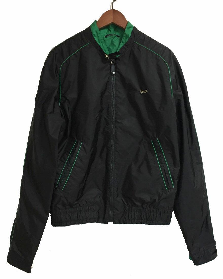 グッチ ブルゾン ジャンパー メンズ M ブラック 黒 グリーン ロゴ GUCCI ナイロン 50 ロゴ 上着 アパレル gucci 【中古】