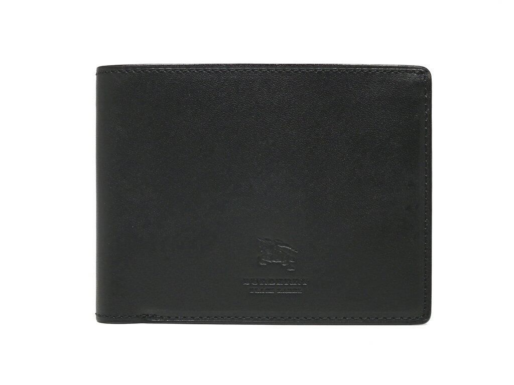新品同様 バーバリー ブラックレーベル 札入れ 二つ折り ブラック レザー 本革 黒 財布 札入 メンズ BURBERRY 【中古】