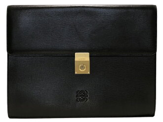 Loewe document case A4 documents case briefcase black black type push leather genuine leather logogriph LOEWE business bag dispatch case men gentleman
