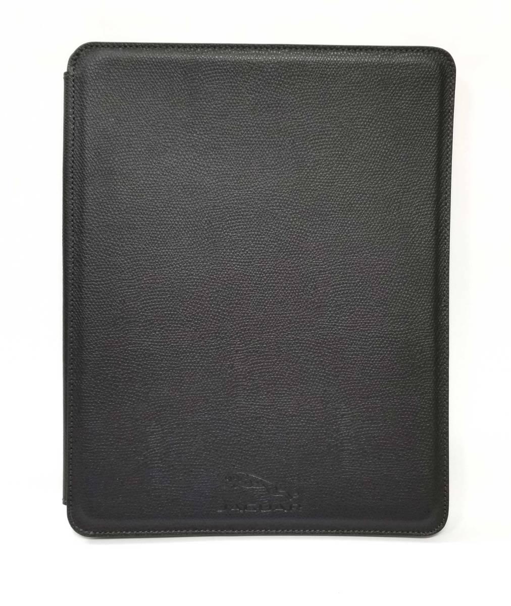ジャガー アイパッドケース iPad タブレットケース 黒 ブラック 型押し レザー JAGUAR 美品 【中古】