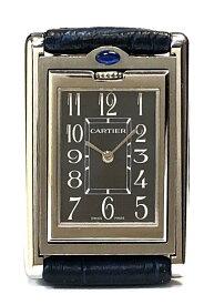 新品同様 カルティエ タンクバスキュラント SM レディース 時計 W1011158 クォーツ レディースウォッチ ダークグレー文字盤 Cartier 女性用 SS 革バンド 腕時計 【中古】