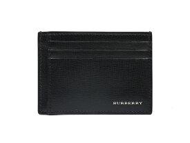 新品同様 バーバリー マネークリップ カードケース ブラック 黒 レザー 本革 メンズ 型押し パスケース 定期入れ BURBERRY 【中古】