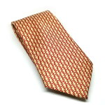 f7b32c5316bc 100% of like-new Hermes tie H pattern silk beige red H motif men HERMES