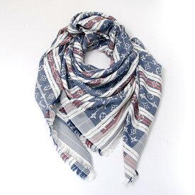 ルイヴィトン Louis Vuitton モノグラム レイユールマットレス ショール M75248 ブルー×ホワイト【中古】