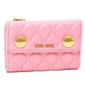 ミュウミュウ MIUMIU ナッパレザー 三つ折り財布 5ML225 ピンク【中古】