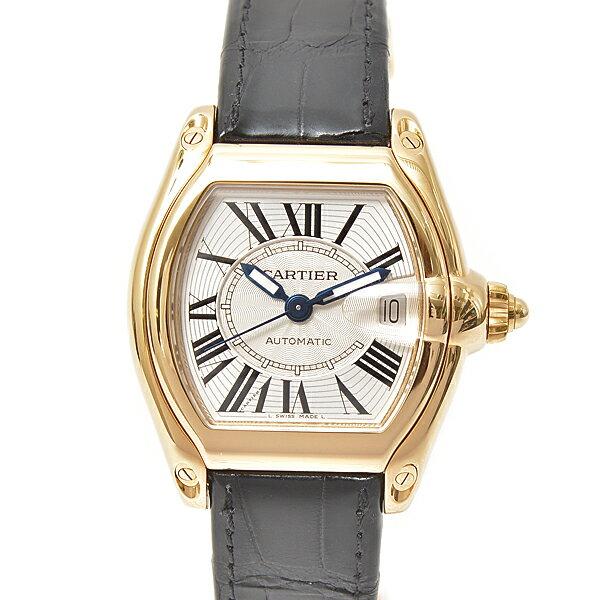 カルティエ Cartier ロードスターLM 750YG イエローゴールド メンズ腕時計 自動巻 シルバー文字盤 革ベルト【中古】