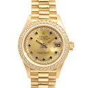 ロレックス ROLEX デイトジャスト レディース腕時計 69138LS ミリヤード ダイヤ サファイア 自動巻 ゴールド・金無垢 …