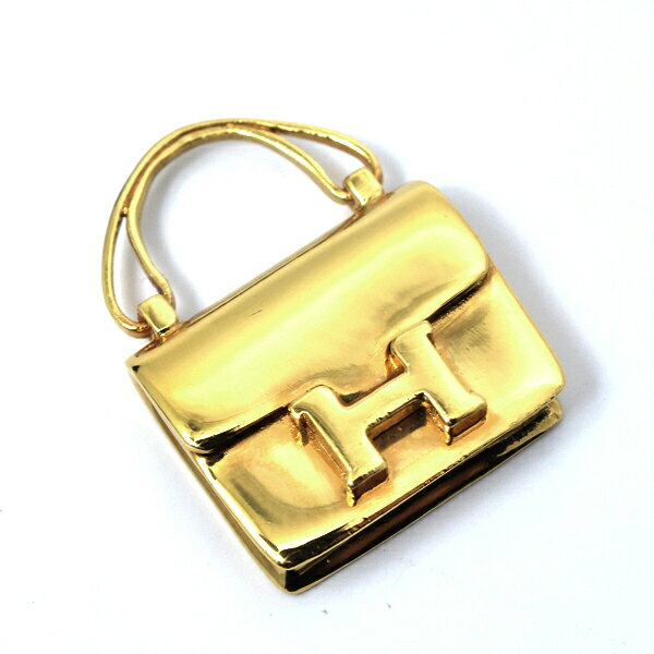 エルメス HERMES バッグモチーフ ペンダント コンスタンス ゴールドカラー フープ欠損【中古】