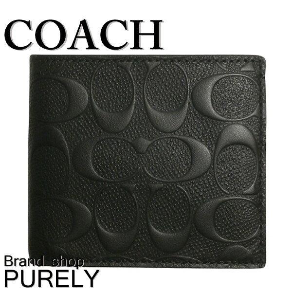 コーチ 財布 折り財布 アウトレット COACH シグネチャーPVC レザー コイン ウォレット F75363 BLK ブラック (小銭入れあり) コーチ COACH メンズ レディース MMM